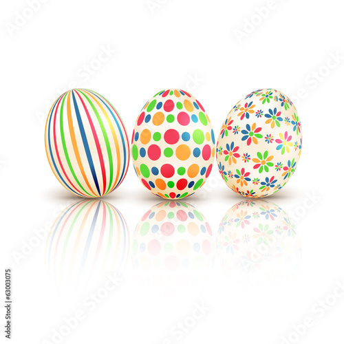 Easter eggs with colorful patterns isolated on white background