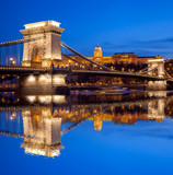 Budapest castle and chain bridge in the evening, Hungary - 63003481