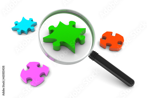 Puzzle and Magnifying Glass