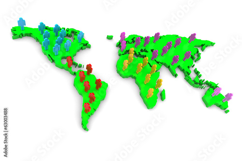World Map and People