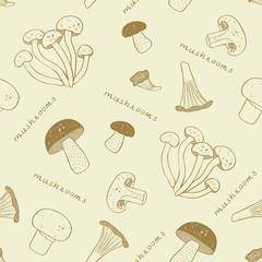 Mushroom seamless background