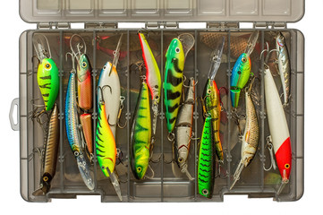Set of fishing lures in box