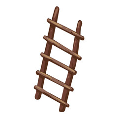 Wooden stairs isolated illustration