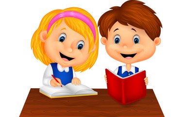 Boy and girl study together