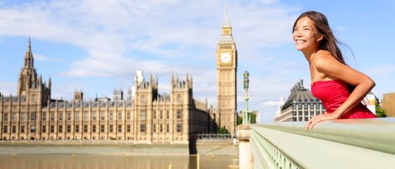 London England travel banner - woman and Big Ben