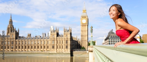 London England travel banner - woman and Big Ben