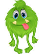 Cute hairy green monster
