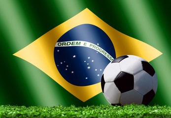 Soccer Ball on Grass with Brazilian Flag