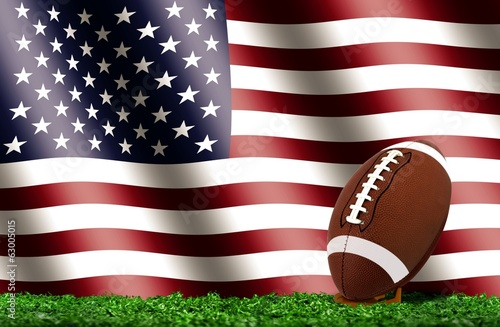 Football Ball on Grass with American Flag