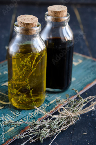 Condiments. olive oil and balsamic vinegar