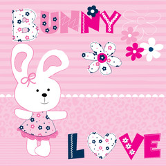 cute bunny with flowers vector illustration