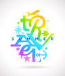 Summer travel multicolored type design