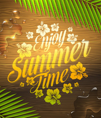 Summer holidays type design painted on wooden surface