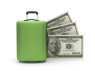 Travel bag and dollar bills on white background