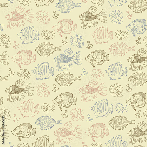 Retro fish seamless