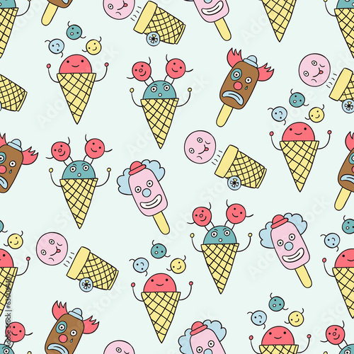 Ice cream circus seamless background