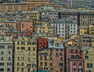 genoa harbor houses cityscape panorama