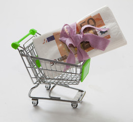 caddie et billet d'euros
