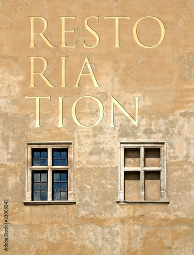 Restoration antique building wall background
