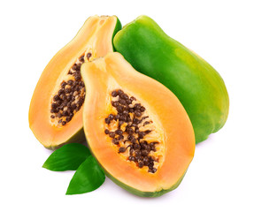 Ripe papaya on white