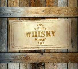 Stamp Whisky label old wooden box