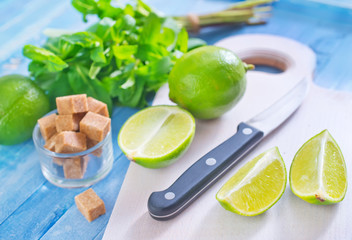 fresh limes with sugar and mint