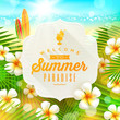 Summer greeting with frangipani flowers and surfboards