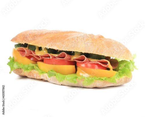 tasty sandwich with ham and vegetables