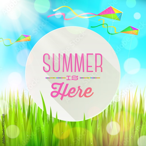 Summer  greeting banner on a grass landscape & colorful kites