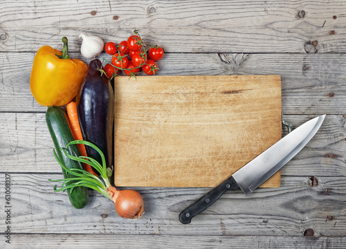 Fotobehang Koken board cooking ingredient knife