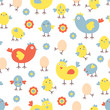 Funny chicken seamless background