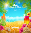Tropical Beach bar menu vector design