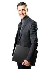Smiling businessman holding laptop