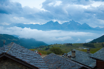The evening has coming in a little village at high altitude