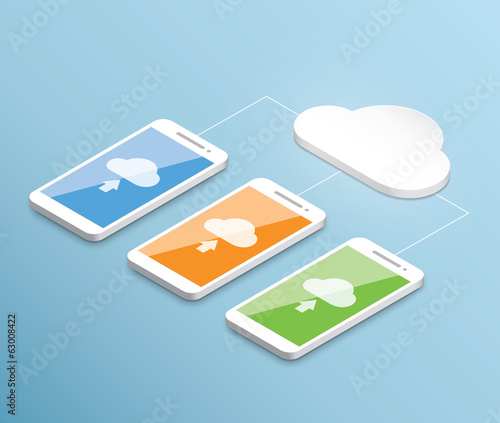 Cloud computing smartphone vector isometric concept