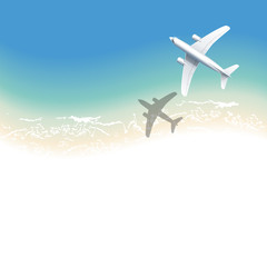 airplane on background of blue sea