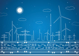 Energy landscape, vector lines, industrial panorama