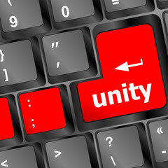 unity word on computer keyboard pc key