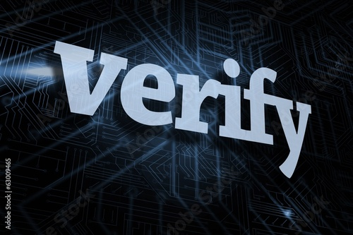 Verify against futuristic black and blue background