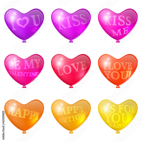 Set a festive bright balloons in the shape of heart