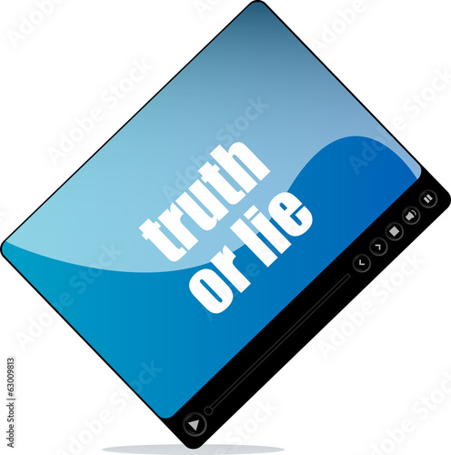 Video player for web with truth or lie words