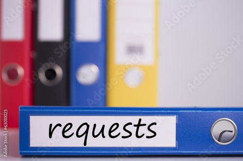 Requests on blue business binder
