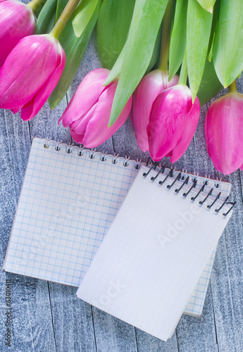 flowers and note