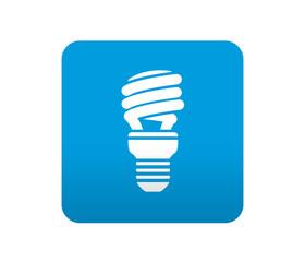 Etiqueta tipo app azul simbolo bombilla bajo consumo