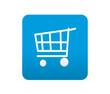 Etiqueta tipo app azul simbolo carrito de la compra