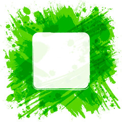 Vector square frame. Green abstract background with splashes and