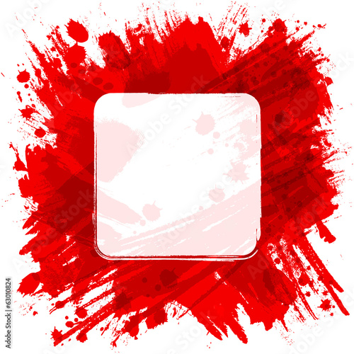 Vector square frame. Red abstract background with splashes and b