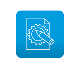 Etiqueta tipo app azul simbolo ingenieria