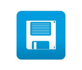 Etiqueta tipo app azul simbolo disquete