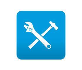 Etiqueta tipo app azul simbolo herramientas